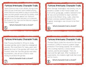 Character Traits: Famous Americans Task Cards | Character Traits Center Game