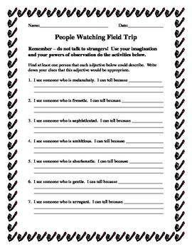 Character Traits Field Trip: People Watching