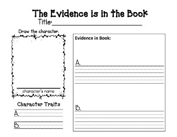 Character Traits-Find the Evidence in the Book (Text)
