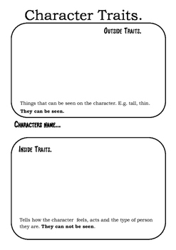 Character Traits Graphic Organisers.