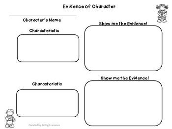 Character Traits Graphic Organizer, Anchor Charts, Writing Activity