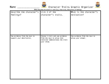 Character Traits Graphic Organizer Common Core Aligned