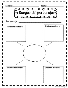 Character Traits Graphic Organizers English and Spanish