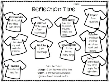 Character Traits & IB Learner Profile Attributes - T-shirt Theme