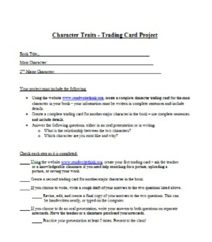 Character Traits - Independent Projects for 3rd or 4th graders