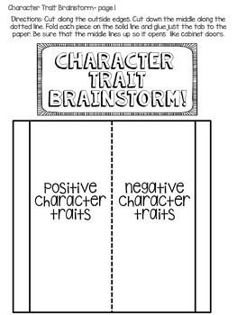 Character Traits - Interactive Notebook
