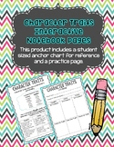 Character Traits Interactive Notebook Pages