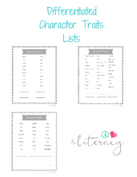 Character Traits List - Differentiated