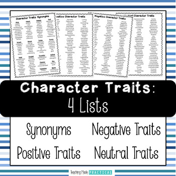 Character Traits Lists - Synonyms, Negative, and Positive Character