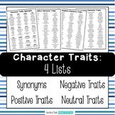 Character Traits Lists - Synonyms, Negative, and Positive