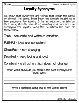 Character Education - Loyalty - Worksheets and Activities by Merry ...