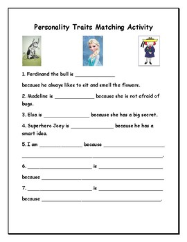 Character Traits Note Sheet and Matching Activity