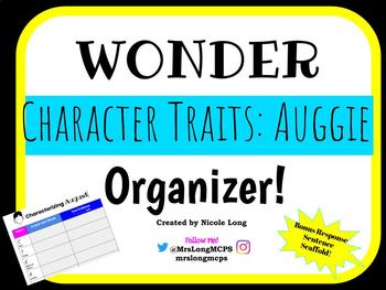 Character Traits Organizer WONDER by RJ Palacio