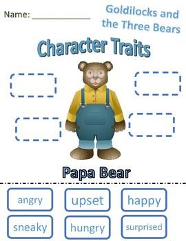 Character Traits Papa Bear Goldilocks and the Three Bears