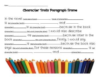 Character Traits Paragraph Writing