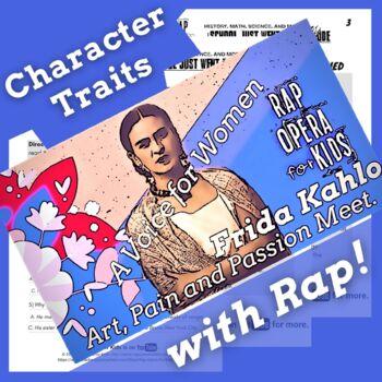 Character Traits Passage and Worksheets Using Frida Kahlo Biography Rap Song