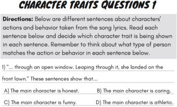 Character Traits Passage and Worksheets Using Spooky Story Rap Song
