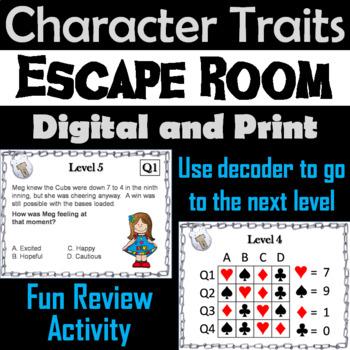 Character Traits Passages Escape Room - ELA