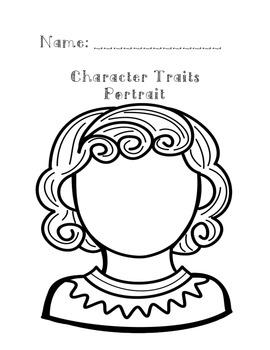 Character Traits Portrait Activity