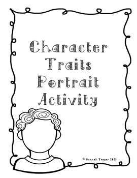 Character Traits Portrait Activity