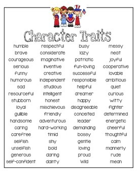 Character Traits Poster