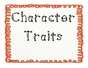 Character Traits Poster/ Anchor Charts