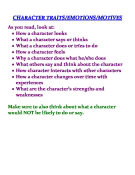 Character Traits Poster & Characterazation Doll for Journaling
