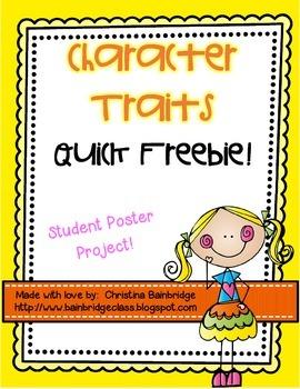 Character Traits Poster Freebie!
