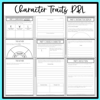 Character Traits ELA Project-Based Learning Activity Using Wonder PRINT&DIGITAL