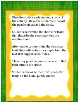 Character Traits Puzzle