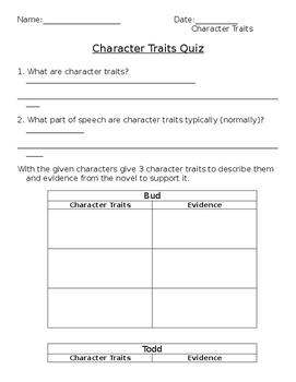 Character Traits Quiz for Bud, Not Buddy