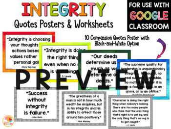 Integrity Quotes Posters And Activities By Kirsten S Kaboodle Tpt