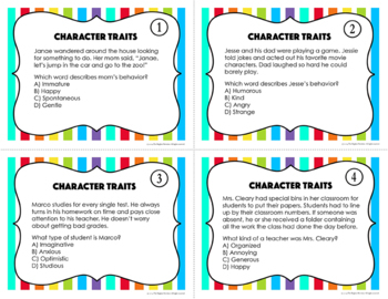 Character Traits Task Cards and Game