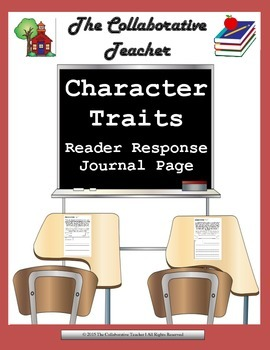 Character Traits Reader Response Journal Page