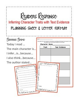 Character Traits Readers Response: Planning & Letter format
