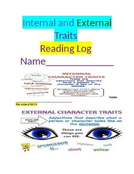 Character Traits Reading Log for Homework