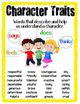 Character Traits Reference Sheet (elementary/upper elementary)