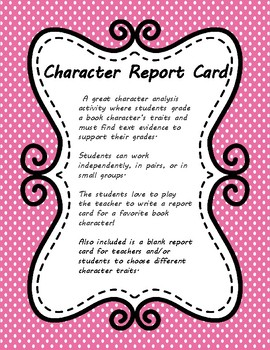 Character Traits Report Card