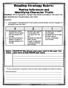 Character Traits Rubric for Students