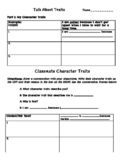 Character Traits Sentence Frames and Graphic ORganizer