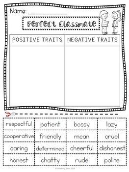 Character Traits Sorting - Back to School - Freebie