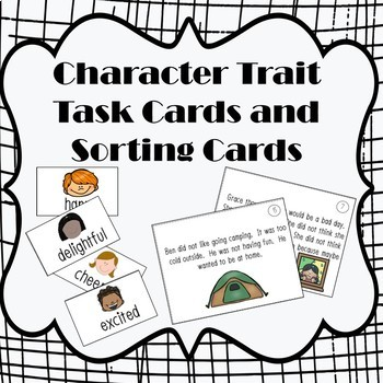 Character Traits Task Cards and Sorting Cards