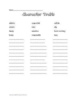 Character Traits Starter List