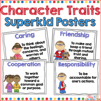 Character traits lifeskills posters with a superhero theme