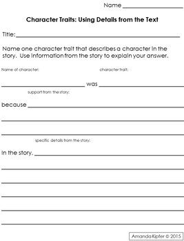 Character Traits: Supporting your choice with details from the text