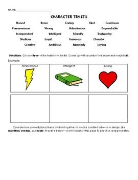 Character Traits Symbolic Design Worksheet