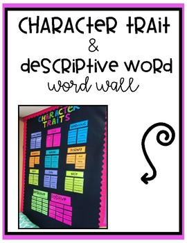 Character Traits & Descriptive Word Synonyms Bulletin Board