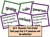 60+ Character Traits, Synonyms, and Definitions - Vocabulary Matching Cards