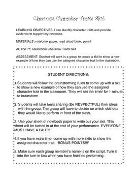 Character Traits Task Card