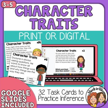 Character Traits Task Cards Making Inferences
